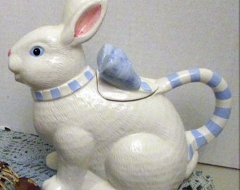 Bunny Rabbit Watering Pitcher/  Ceramic /  Teapot /  Easter Decor / Serving Odds and Ends / Gift for Her / Retro /  Kitchen  Decor,  Display