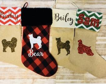 Dog Christmas Stocking - Pet Stocking Personalized - Cat Stocking - Buffalo Plaid Stocking - Burlap Dog Stocking - Puppy Christmas Stocking