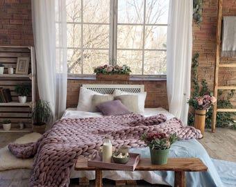 Chunky Knit Blanket, Arm knit blanket, Giant knit blanket, Large knit Blanket, Chunky knit throw, Wool blanket,  Giant throw, Bulky Blanket