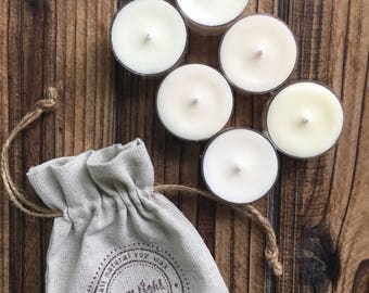 Soy Tea Lights | Sample Scents | Pack of Six Tea Lights | Burlap Pouch | Gift Set | Hand Poured | Choose Your Scents