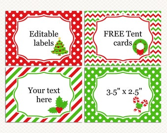 Christmas labels. Christmas tent cards. Red Green labels. Christmas Holiday Food Buffet Address labels. Editable tags. Free tent cards