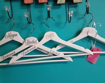 Bridal hangers with name, date, Bridesmaid or Maid of Honor or Bride - white personalized wooden hangers - quick turn around!