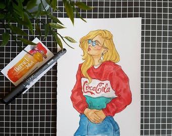 Coca Cola Kid / ORIGINAL Illustration