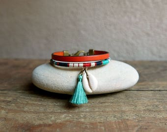 Cuff bracelet, Leather bracelet, Boho jewelry, Women bracelet, Charm bracelet, Handmade womens gift, Wife gift