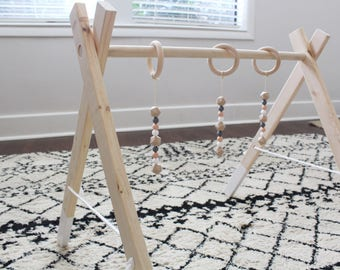 Play Gym, Wooden Play Gym, Baby Play Gym, Baby, Wooden, Teething Beads, Baby Activity Gym, Wooden Mobile, Activity Gym