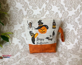 Hand painted Orange Pumpkins/Make up Bag/Tote /Pouch/Travel Case/Halloween/Thanksgiving/Pumpkin/Fall holidays/Halloween gift/spider/bat