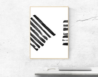 Black and White Abstract Brush Strokes Print, Brush Strokes Art Print, Abstract Brush Art, Minimalist Print Download, Paint Stroke Poster