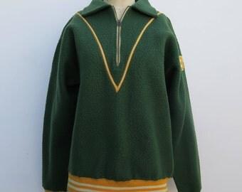 0742 - 40s - Vintage Vermont - Green Letterman Jacket