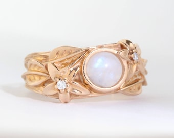 Moonstone nature inspired ring, rose gold leaves engagement ring, rainbow moonstone, flower leaves statement solid gold ring cabochon bark