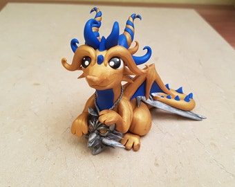 golden dragon figurine, Witcher dragon, handmade dragon sculpture, original gift idea, RPG dragon, clay dragon, original art, polymer clay