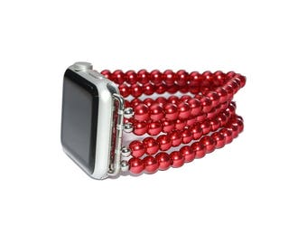 Glass Pearl Apple Watch Band 38mm - 42mm / Apple Watch Strap Accessories, Lugs Adapter, iWatch Band Gold, iWatch Strap, No-clasp