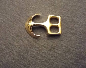 5 Gold Plated Anchor Hook Clasps 26x18mm For Bracelets