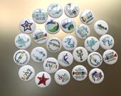 Sea Glass Art Round Magnets for refrigerator, dishwasher, file cabinet - Great for home or office - Single or Set of 4 Beach Glass Magnets