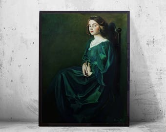 Original Oil Painting on Canvas Green Large Big old masters vintage Princess dress sale accessories girl woman for him art stretched