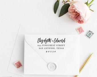 Custom Return Address Stamp, Self Ink Return Address Stamp, Personalized Address Stamp, Calligraphy Address Stamp Return Address Stamp No23