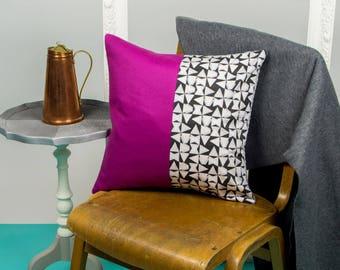 Vibrant Pink and Monochrome Geometric Cushion