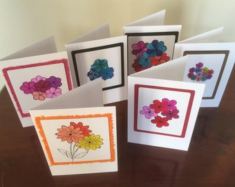 6 x greetings cards, occasional cards, handmade cards, flower design cards