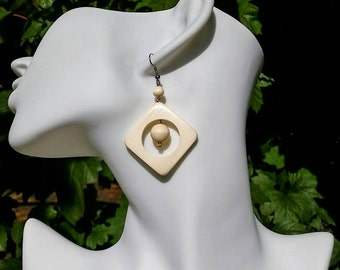 Wood Earrings - Lightweight Jewelry, White Wood Earrings, Geometric Earrings