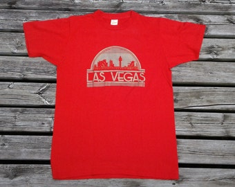 Vintage 80's Las Vegas, Nevada Red and Gold souvenir paper thin t-shirt Made in USA by Pacer medium