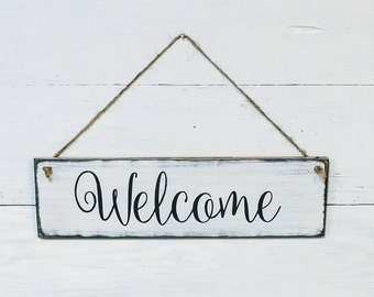 Welcome sign, wood sign, wood welcome sign, porch sign, greeting sign, entrance sign, wreath sign, country rustic   farmhouse decor