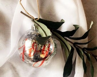 Custom Calligraphy Ornament | Silver Christmas Bulb with Greenery | Custom Christmas Ornament