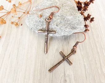cross earrings Gothic earrings copper earrings Gothic jewelry halloween earrings easter jewelry metal earrings Teen girl earrings Simple