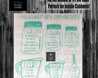Kitchen Measurements Conversion Decal - 11x10 inch Large Decal - Conversion Chart Decal - Baking Cooking Pantry - Measuring Cups - Cupboard