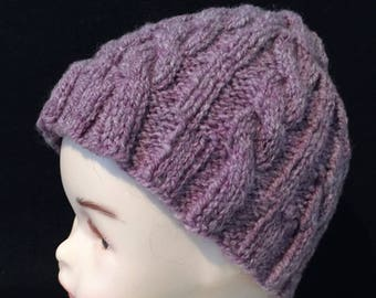 Purple Cable Hat, hand spun wool, hand knit, Christmas, Skiing, Ice Skating, Birthday, Winter, Child Hat,