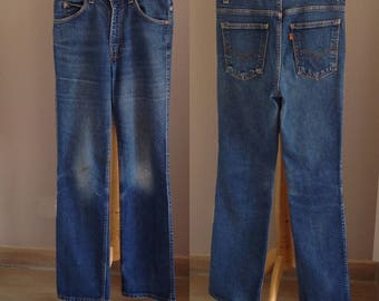 70s Levis 517 Jeans Orange Tab Sz. 28, Vintage High Waisted Levis Jeans Denim Pants Distressed 1970s, Vintage Retro Medium Wash