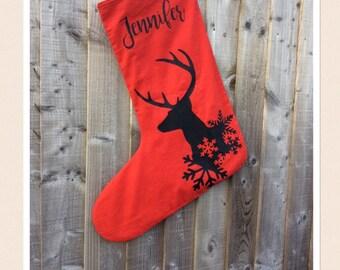 Large Personalised Reindeer Stocking