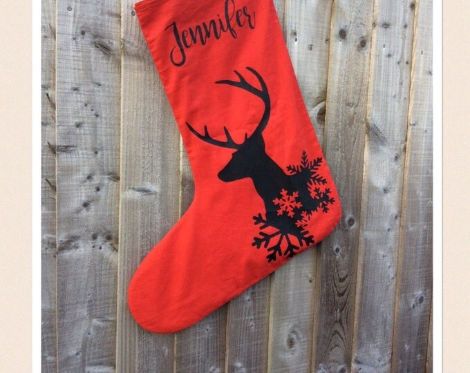 Featured listing image: Large Personalised Reindeer Stocking