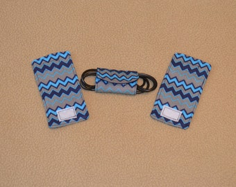 Blue Chevron Cord wrap organizers for chargers & other electrionic cords