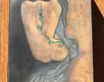 """5""""x7"""" Oil Painting of a Woman's Figure with a Henna Like Back Tattoo with a Draped Cloth, Grungy Gold Background"""