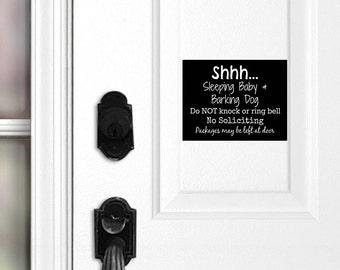 Sleeping Baby and Barking Dog Sign, Sleeping Baby Magnet, Barking Dog Door Sign, Do Not Knock, Do Not Ring Doorbell, Leave Packages at Door