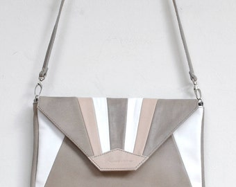"Leather with grey, white and pink ""MADU"" shoulder bag"