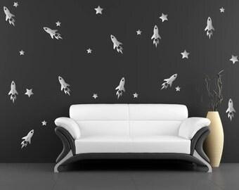 Silver Metallic Rocket & Stars Wall Stickers