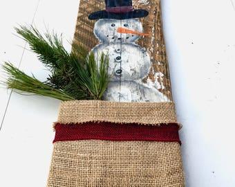 SALE - SNOWMAN DECOR - Handmade  Snowman - Christmas Decor - Snowman Wall Art - Primitive Christmas - Handmade Christmas - Snowman