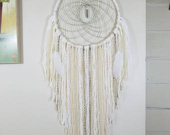 Large White Dreamcatcher~White Boho Chic Dreamcatcher~Handmade~Modern Home Decor~Boho Decor~Bohemian Dreamcatcher~Gift For Her~Wedding Gift