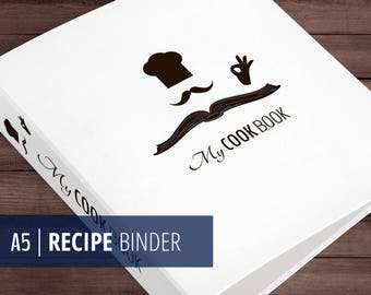 A5 Recipe Binder - Printable - Cover and Spine - Minimalist, Zen - Black & White - Instant Download