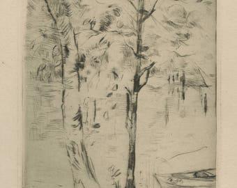 "BERTHE MORISOT (French, 1841-1895), ""Jardin de Mezy / Bord du Lac"", 1888, original drypoint, before cancellation."