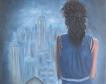 New York City View with Woman's Back -Original Oil Painting