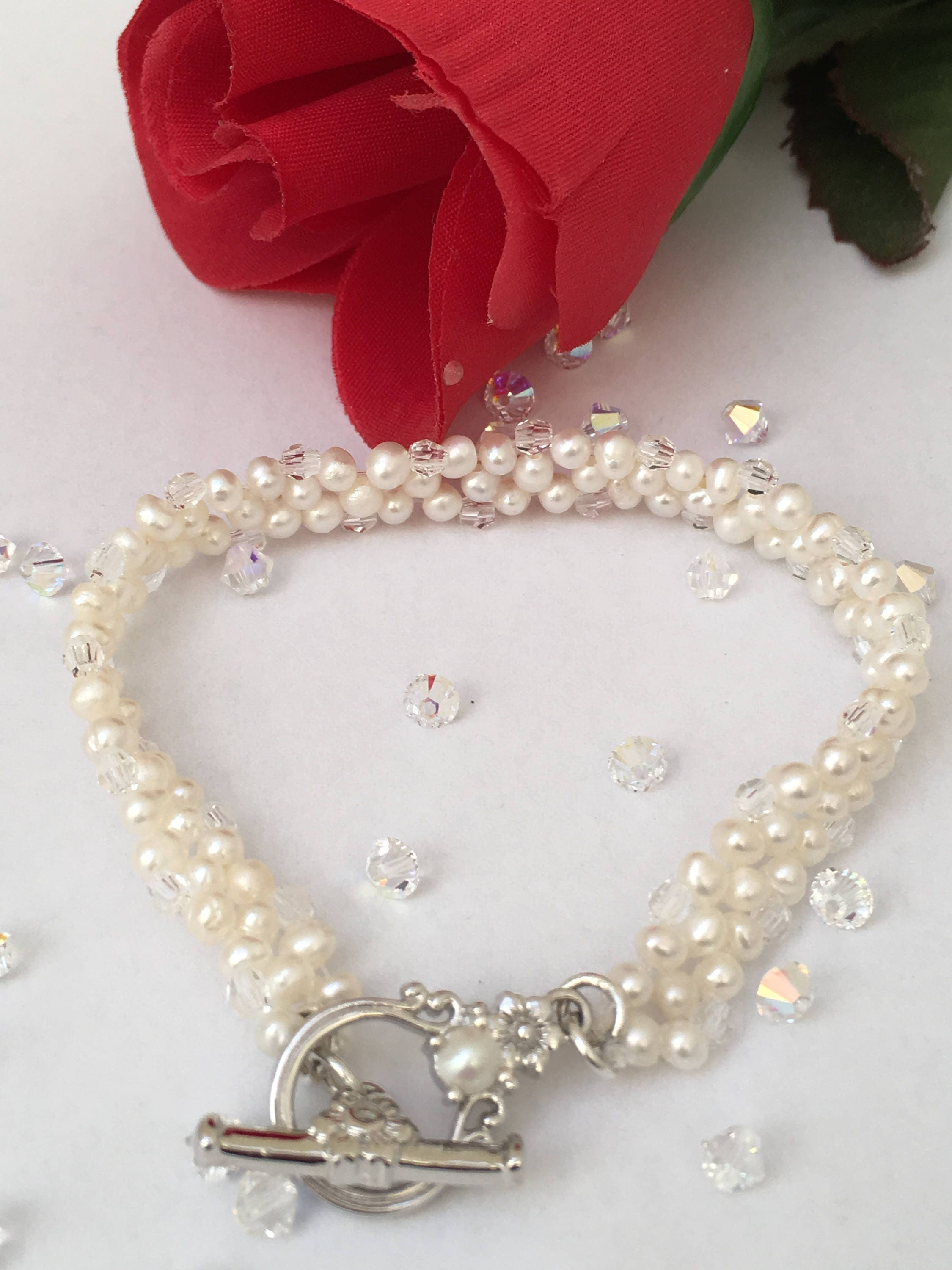 Pearl And Swarovski Crystal Bracelet Bridal Jewellery 15th Wedding
