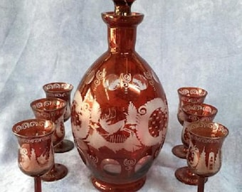 Bohemian Ruby Red Cut to Clear Decanter - Egermann