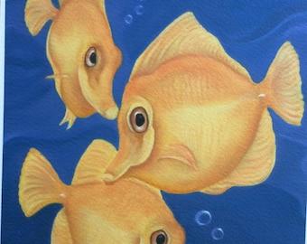 yellow tang fish painting