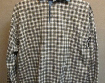 Vintage 1990's Structure Blue Denim Cotton Checks Pullover Shirt Size XL Made In USA