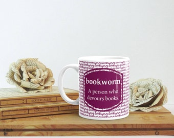 Bookworm Mug, Funny Book Lover Gift, Bookish Gift, Bookish Mug, Librarian Gift, Bookworm Gift for Her, Cute Fall Mug, Bookish Christmas