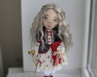 Handmade doll, doll textile, rag dolls, textile dolls, cloth doll, tilda doll, collectible doll, interior doll, OOAK doll, gift by Jenay