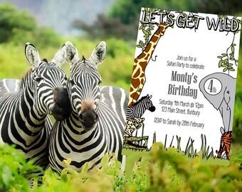 Safari Party Invitation, Kids Party Invitations, Safari Birthday, Jungle Party, Printable Invitation, Party Invite, Customized, Invitation