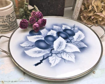 Nice porcelain cake platter 1928 cake stand artdeco plum decor and chrome rim