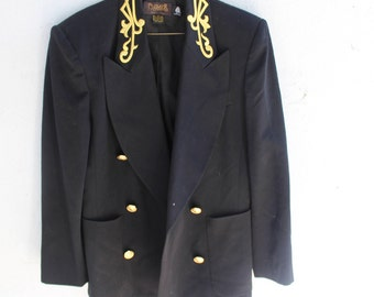 1980s Vintage Blazer | Black| Gold Accents| 100% Wool